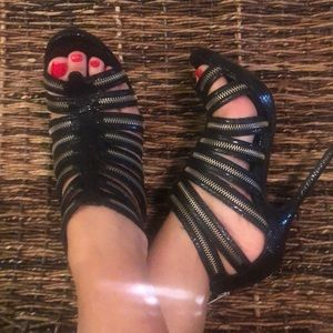 Black and metal strappy heels